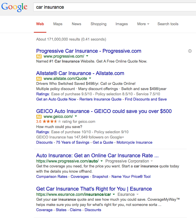 Car Insurance AdWords
