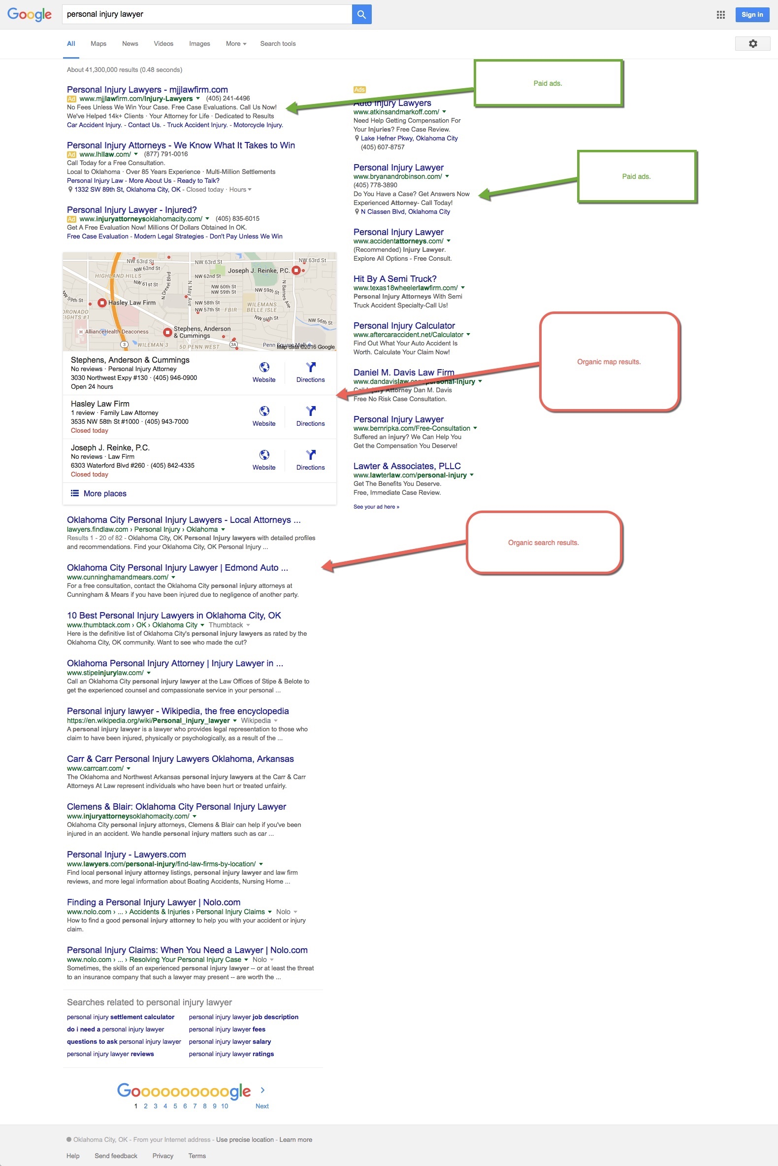 personal injury lawyer google results