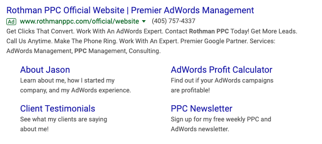 example of ad with extensions